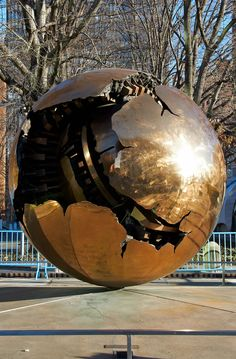 "Arnaldo Pomodoro's ""Sphere Within Sphere."" United Nations Plaza, New York, New York."