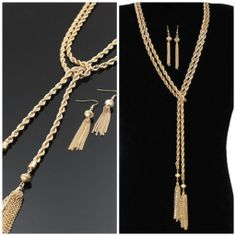 Fashion Tassel Necklace with matching earrings http://www.urbanglamfashions.com/tassel-rope-necklace/