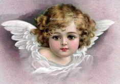 Angel Greeting Card Cherub with Wings  Repro door KatyDidsCards