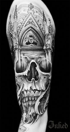 Impressive work from Johan Finné #InkedMagazine #blackandgrey #skull #tattoo #tattoos #Inked #Ink
