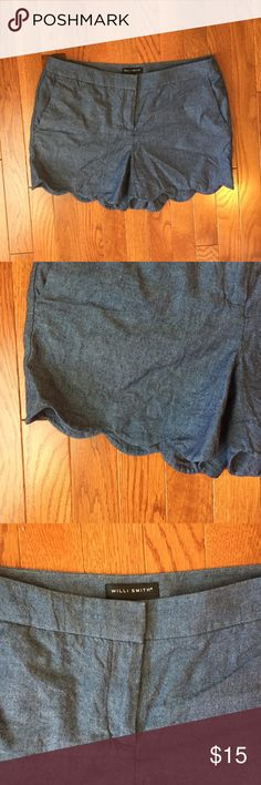 Scalloped chambray shorts Scalloped chambray shorts. Size 6. Worn 2-3 times. Like new. Willi Smith Shorts