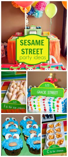 A Sesame Street themed girl birthday party with a rainbow cake and Cookie Monster cupcakes! See more party planning ideas at CatchMyParty.com!