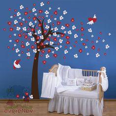 Cherry Blossom Tree With Birds Wall Vinyl Sticker