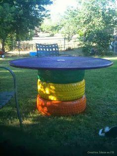 Diy garden table old tires Ideas Tire Furniture, Garden Furniture, Automotive Furniture, Automotive Decor, Recycled Furniture, Handmade Furniture, Furniture Design, Outdoor Fun, Outdoor Tables