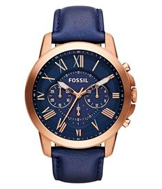 Fossil Men's Grant Chronograph Leather Watch - Rose Gold-Tone and Blue: With rich blue leather and punctuated roman numerals, our classic grant watch has everything you need for a best-dressed season. This grant watch also features a chronograph movement. Herren Chronograph, Jewelry Accessories, Fashion Accessories, Men's Jewelry, Gold Jewellery, Jewelry Bracelets, Bracelet Cuir, Men Watches, Baume Mercier
