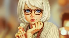 Скачать обои LemonCat, размытый фон, тату, очки, свитер, стрижка, art, лицо, портрет девушки, голубые глаза, челка, белые волосы, руки, раздел арт в разрешении 1600x900