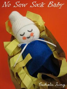 no sew sock baby Jesus craft for kids