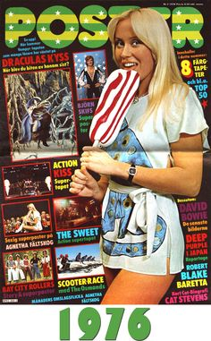 """Agnetha Fältskog was a singer with the Swedish band ABBA, famous for hits like """"Mamma Mia."""" In Fältskog became engaged to Björn Ulvaeus. Pop Punk, Elvis Presley, Futuristic Motorcycle, Comic Panels, Dracula, David Bowie, Belle Photo, Music Artists, Sweden"""