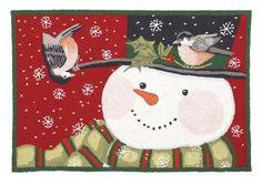 Christmas Feathered Friends Hooked Rug - Susan Winget - Peking Handicraft