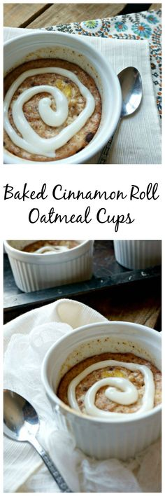 Baked Cinnamon Roll Oatmeal Cups: A breakfast that is full of hearty grains, fiber, protein--but tastes just like an ooey, gooey cinnamon roll. This is one breakfast treat that will make eating healthy a dream come true and comes complete with finger-licking icing!: