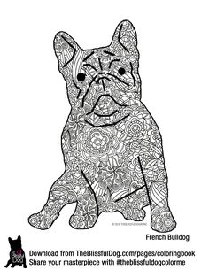 The Blissful Dog French Bulldog Coloring Page BIG File So It Will Print On US Letter Size Paper Send Me Your Finished Masterpiece