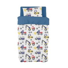 If your little boy is obsessed with trucks, then our Diggers and Dozers in Primary Colours is perfect for any transport boys nursery! Cot Duvet, Sailor Theme, Digger, Primary Colors, Little Boys, Grey And White, Duvet Covers, Transportation
