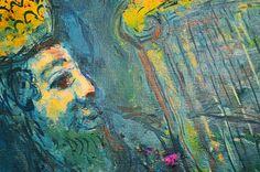 Marc Chagall, Re David in blu, olio su tela, 1967. Dettaglio.