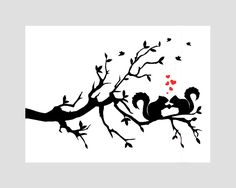 Squirrels On Tree Branch With Leaves Squirrel Lovers Black Silhouette Red Hearts Vector Bath Mat Machine Silhouette Portrait, Silhouette Machine, Silhouette Studio, Paper Cutting, Zantangle Art, Silhouette Cameo Projects, Paper Art, Coloring Pages, Stencils