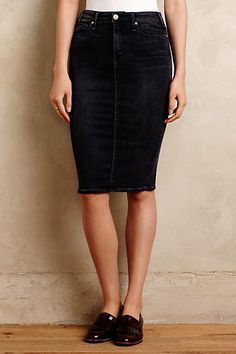 McGuire Denim Pencil Skirt - $185 anthropologie.com, Designed in New York and made in Los Angeles, McGuire jeans are inspired by vintage silhouettes and modern femininity. Cotton, polyester, elastane denim, Slim midi silhouette, Five-pocket styling,  Machine wash, Italy