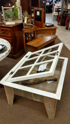 Rustic Display Table Old Window Shadow Box Coffee Table Custom Made – - Interior Decoration Accessories coffee tables