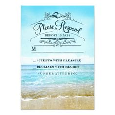 Beach wedding RSVP card