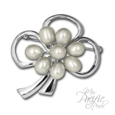 Pick up you lucky charm for only $57! My Pacific Pearls - Pearl Jewelry, Pearl Necklaces, Pearl Earrings | Gotta Have It! - Luck of the Irish 7-9mm White Pearl Brooch Set in Rhodium Silver  www.mypacificpearls.com