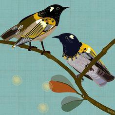 Loyal Hihi New Zealand Folk birds series Edition of 45 From NZ$145 Folk Fashion, Bird Prints, New Zealand, Fine Art Prints, Birds, Animals, Icons, Art Print, Art Production