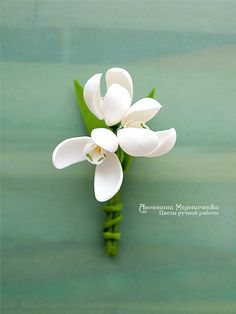 Brooch Snowdrop Polymer Clay Flowers by SaisonRomantique on Etsy