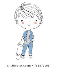Boy with a skateboard. Boy with a skateboard. Illustration Mignonne, Illustration Design Graphique, Children's Book Illustration, Art Watercolor, Kawaii Doodles, Boy Pictures, Drawing For Kids, Drawing People, Cute Drawings
