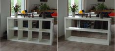 Simplified Expedit - IKEA Hackers I like the idea of using a low ish shelf with books/plants on top to separate your desk area and the living room Ikea Hacks, Ikea Kallax Hack, Ikea Regal Expedit, Office Office, Diy Regal, Ikea Shelves, Ikea Furniture, Home Organization, Home Furnishings