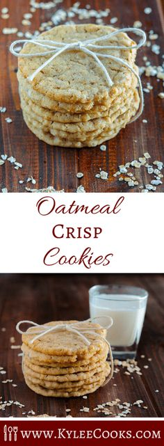 These crispy chewy oatmeal cookies are my absolute ideal cookie. Crisp, with a slight chew, lots of vanilla, and butter and EASY to make! via @kyleecooks