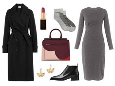So you've got to go straight from the airport to work? Don't subject yourself to flying in a suit. By building your look around a draped jersey dress instead, you'll get the same office-appropriate elegance without the pinched waistbands or stiff, quick-to-wrinkle fabric. From there, it's a just a matter of adding in equally versatile items: a draped trench that immediately dresses things up, streamlined flat Chelsea booties you can easily slide-on-and-off, and outfit-elevating red lipstick…