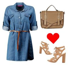 """""""Denim Dress"""" by ella178 ❤ liked on Polyvore featuring Topshop, Sam Edelman, women's clothing, women, female, woman, misses, juniors, denim and ootd"""