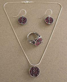 Small POMEGRANATE garnet bronze & silver pendant by WingedLion, $175.00