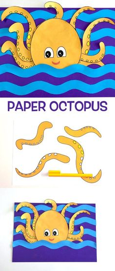 Paper Octopus – Make Film Play Sea Animal Crafts, Sea Crafts, Crafts To Do, Crafts For Kids, Paper Crafts, 3d Paper, Craft Activities For Kids, Preschool Crafts, Projects For Kids