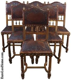 Antique French Renaissance dining chairs dating to 1900 with embossed leather upholstery. Antique Dining Tables, Dining Chairs, Antique Furniture, Furniture Decor, Traditional Dining Room Furniture, Renaissance Fashion, Chair Upholstery, Spanish Style, French Antiques
