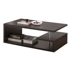 "Wood coffee table with three asymmetrical shelves and metal accents. Product: Coffee table  Construction Material: Wood and metal  Color: Espresso and chrome   Features: Three shelves Dimensions: 17.1"" H x 47.25"" W x 27.6"" D"