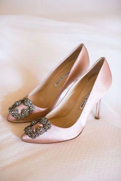 Blush Manolo Blahnik Wedding Pumps | Brides.com Designer Wedding Shoes, Blush Wedding Shoes, Blush Shoes, Wedding Pumps, Wedding Boots, Wedding Day, Wedding Dresses, Wedding Bride, Pump Shoes