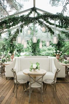 Greenhouse wedding reception....yes please! Day 3's vignette inspiration is all about the romance. We love the lush greenery elements and natural tones complement this amazing botanical design perfectly. Those laterns tho...muah! Photo @indeeddecor thanks for letting us share! #botanical #greenhouse #classicromance #lushgreenery
