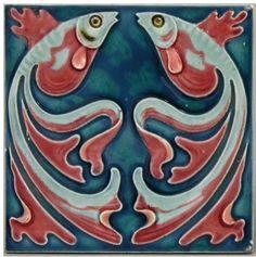 """Art Nouveau goldfish tile, marked """"VILLEROY & BOCH MOSAIKFABRIK METTLACH"""". measures 5-3/4"""" square"""