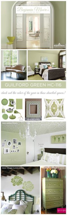 Cutting Edge Stencils shares stenciled home decor ideas using Benjamin Moore's color of the year 2015 Guildford Green.http://www.cuttingedgestencils.com/wall-stencils-stencil-designs.html  #homedecor #benjaminmoore