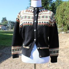 Black Handknit Norwegian Cardigan Ski by GardenPartyPieces Go Skiing, Ski Sweater, Knit Jacket, Dress Form, My Size, Hand Knitting, Vests, 1950s, Sleeves