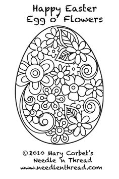 Free Hand Embroidery Pattern: Easter Egg with Flowers.  I would love to have time to actually embroider something.  Think I'll use this as a coloring page for the time being.  CB
