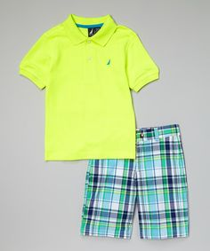 Another great find on #zulily! Neon Yellow Polo & Plaid Shorts - Toddler & Boys by Nautica #zulilyfinds