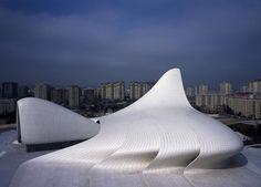 Le Centre culturel Heydar Aliyev est un édifice dont l'architecture audacieuse s'inscrit dans le tissu urbain de la ville de Bakou.
