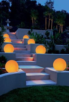 High quality Italian sphere lighting to light all outdoor settings, especially gardens or large outdoor areas; purity and perfection as magnificent and creative combination of rows, clusters or spheres left randomly. Explore OH! Led Garden Lights, Outdoor Garden Lighting, Modern Landscaping, Outdoor Landscaping, Landscape Lighting Design, Facade Lighting, Italian Lighting, Italian Garden, Gardens