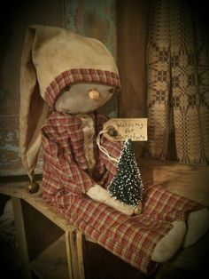 Primitive 'Waiting for Christmas' Snowman Doll Winter Christmas #NaivePrimitive