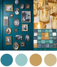 Christmas Colour Palette- Teal & Gold Today's Christmas colour palette of teal and gold is somewhat of a modern take on green and gold but I fell in love with the richness of the teal combined with the different shimmering golds. Living Room Color Schemes, Teal Color Schemes, Gold Color Scheme, Interior Colour Schemes, Aqua Color Palette, Interior Design, Teal And Gold, Teal Green, Teal Gold Wedding