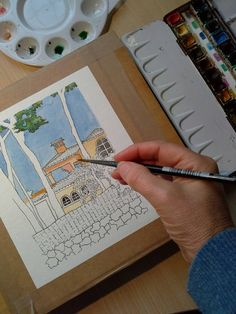My Spanish House watercolour 'in the making'.