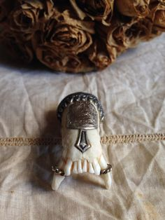Antique amulet hunting trophy -silver teeth fangs hunting charm pendant relic on Etsy, $399.00