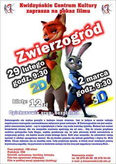 """Pokaz filmu dla dzieci """"Zwierzogród"""", 29.02.2016 r. i 2.03.2016 r."""