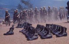 HEROES Every pair of jump boots represented a fallen comrade. Vietnam War