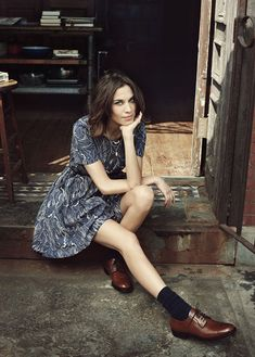 Alexa Chung in a dress, socks & oxfords #style #fashion
