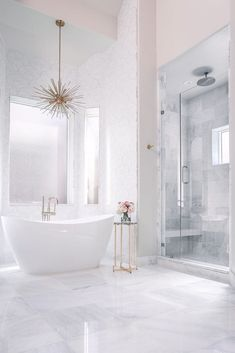 White Marble Bathrooms, White Master Bathroom, Luxury Master Bathrooms, Gold Bathroom, Bathroom Renos, Bathroom Ideas, Tv In Bathroom, Bathroom Fireplace, Marble Bathroom Floor